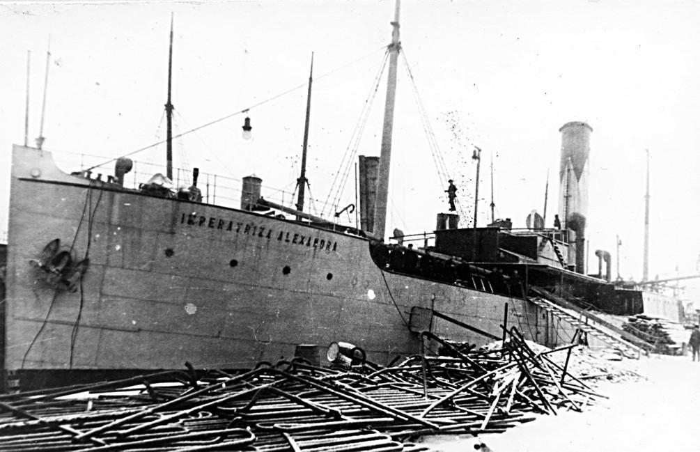 蒸気船「皇后アレクサンドラ」。この船は賞味期限の短い貨物の配送に使われ、ロンドンへの定期的な出帆をしていた。