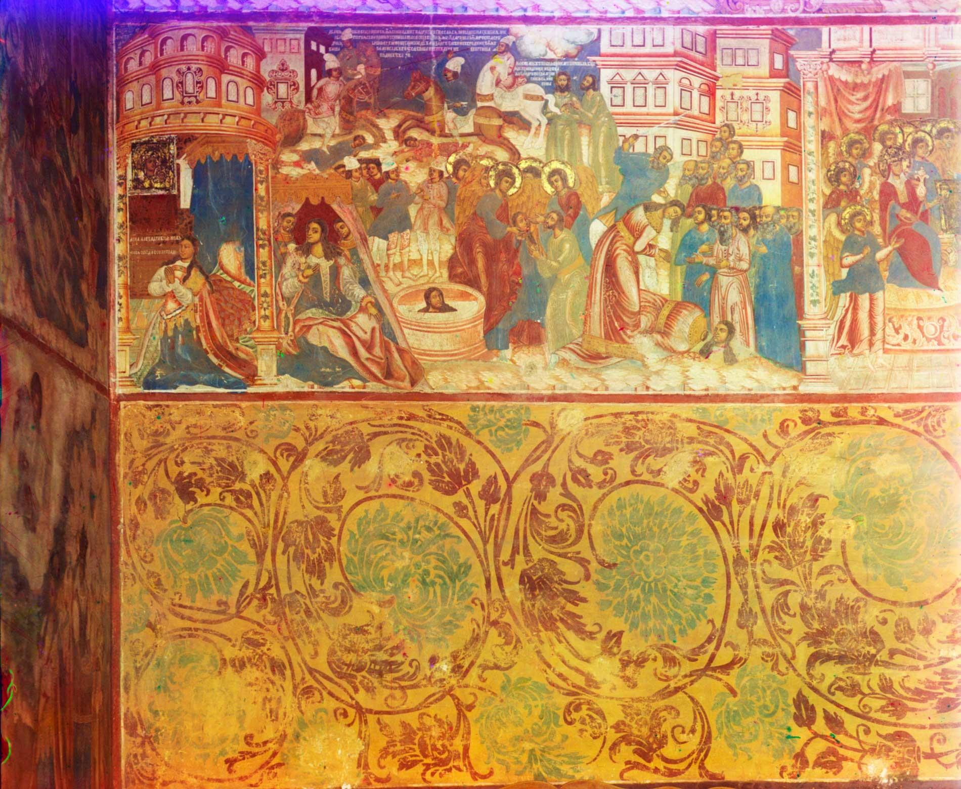 Chiesa dell'Icona della Vergine di San Teodoro. Parete nord, affresco raffigurante la Conversione e il martirio (decapitazione) di Sant'Alessandra di Roma. Estate 1911