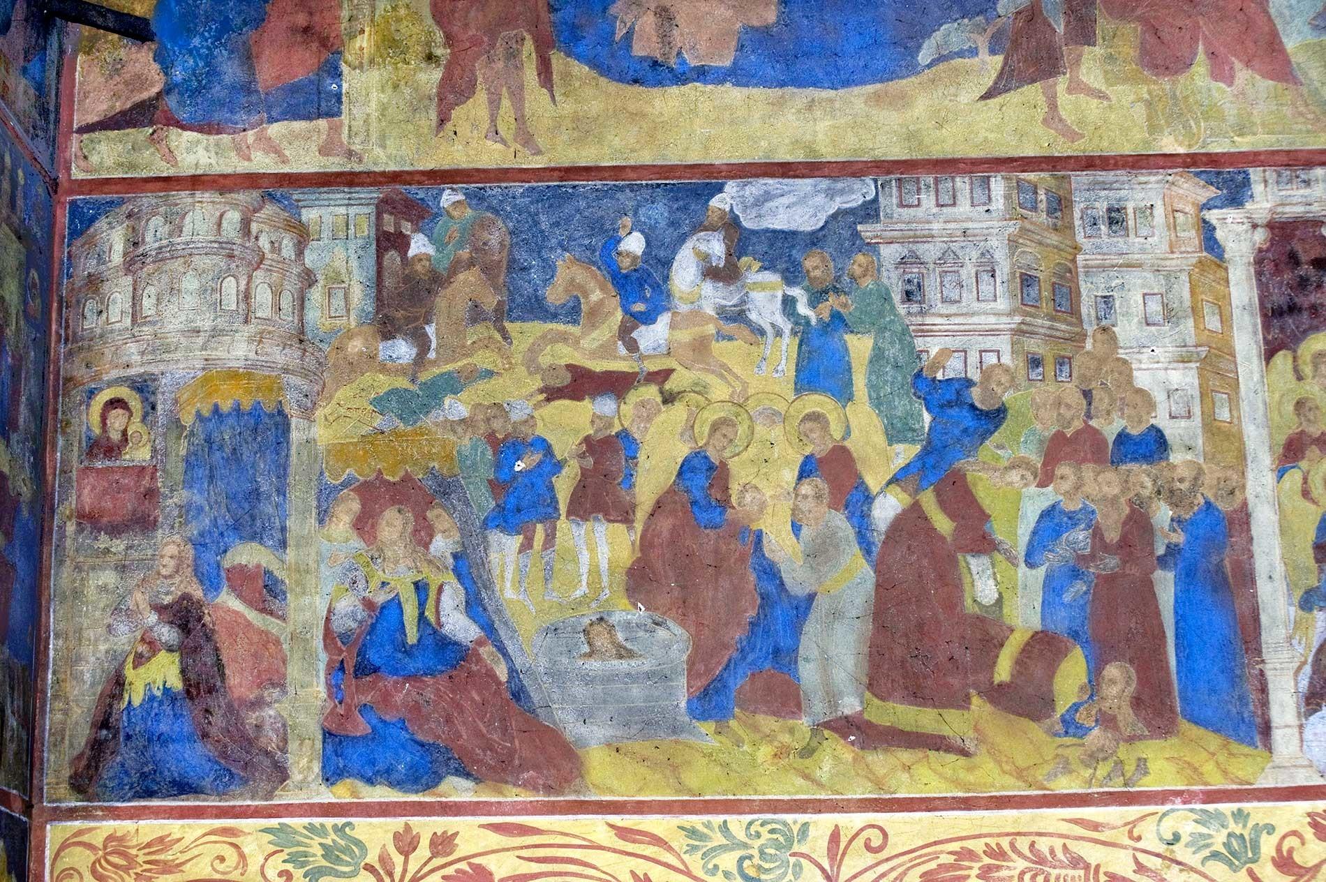 Chiesa dell'Icona della Vergine di San Teodoro. Parete nord, affresco raffigurante la Conversione e il martirio di Sant'Alessandra di Roma. 14 agosto 2017