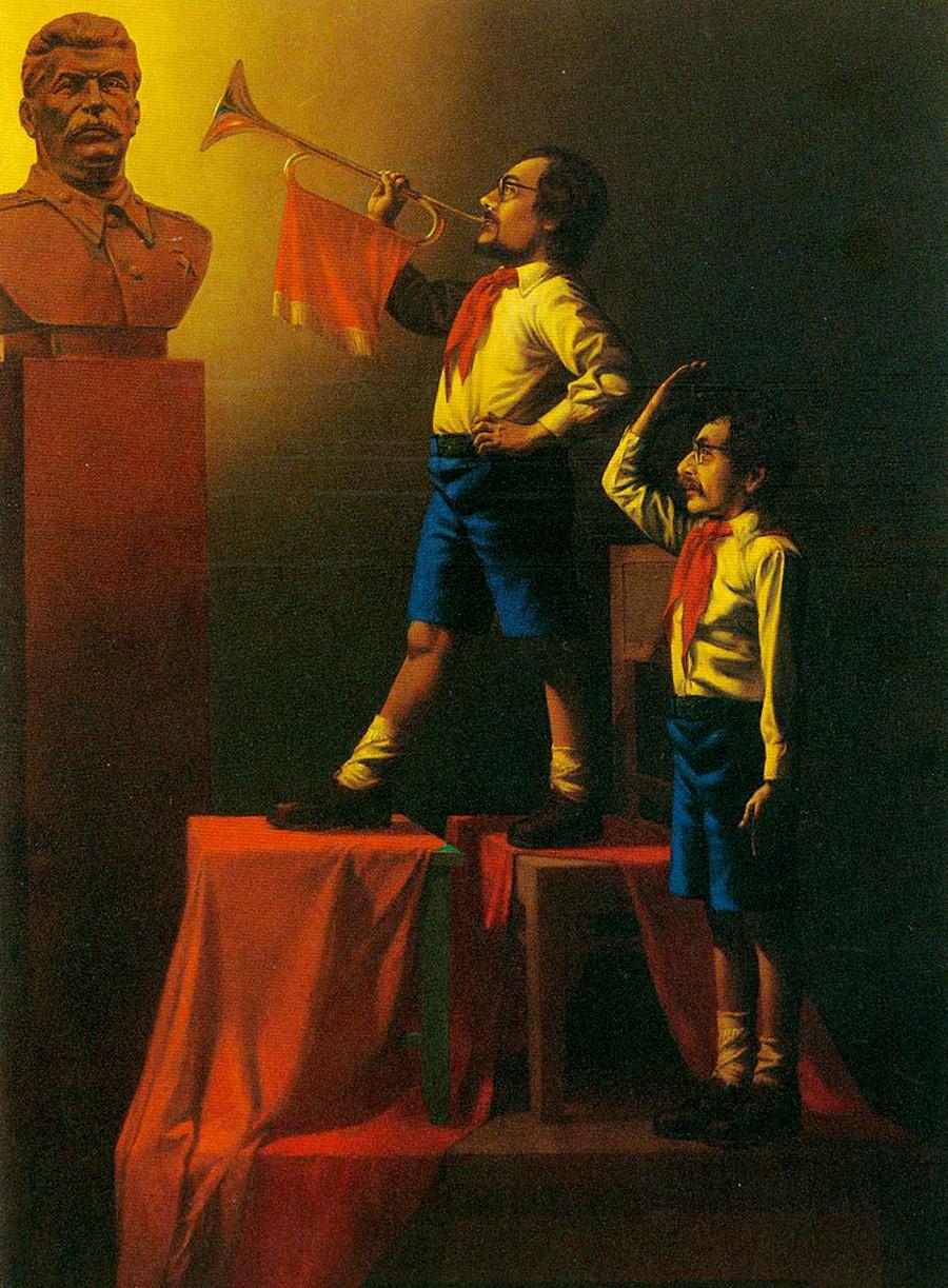 Двойной автопортрет в образе пионеров, 1982