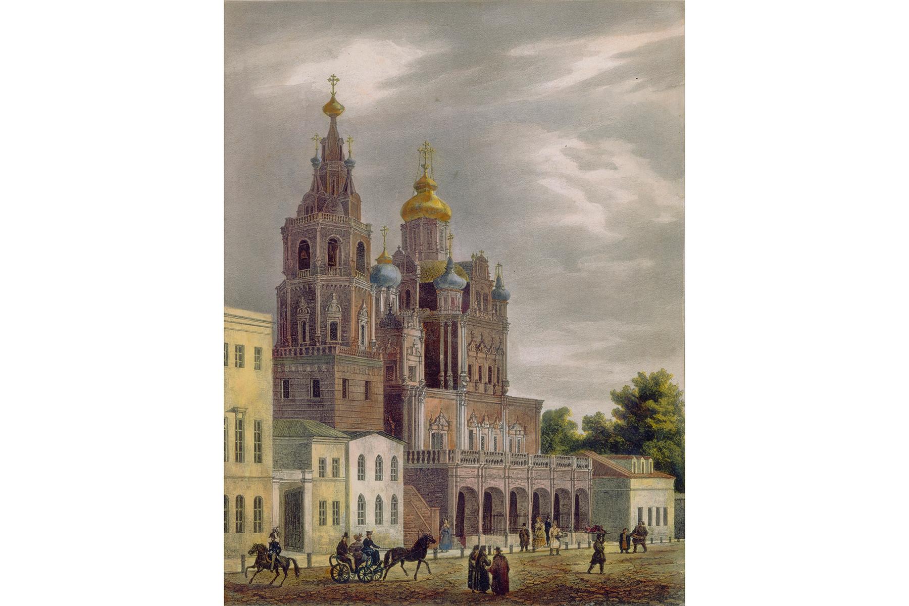 Iglesia de la Dormición de María en la calle Pokrovka en Moscú, 1825.