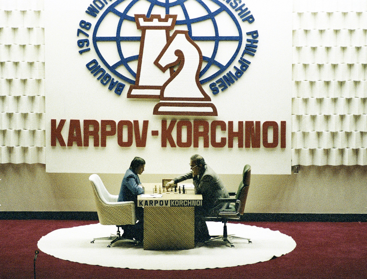 Chess players Anatoly Karpov and Viktor Korchnoi are seen during their second game in the Philippines, July 20, 1978