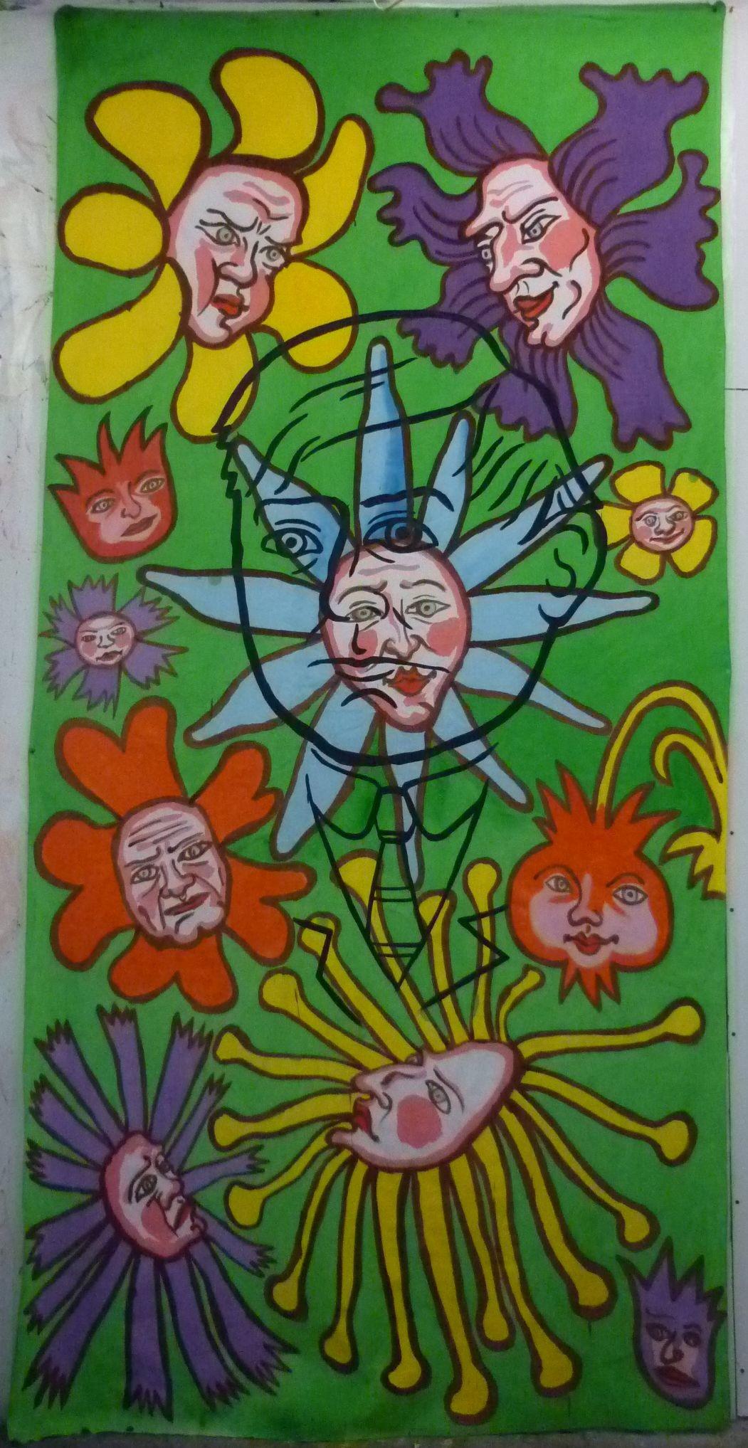 Gueorgui Lititchevski. Du projet « L'intelligence des fleurs ». 2019. Acrylique sur tissu. 3 x 1,5 m.