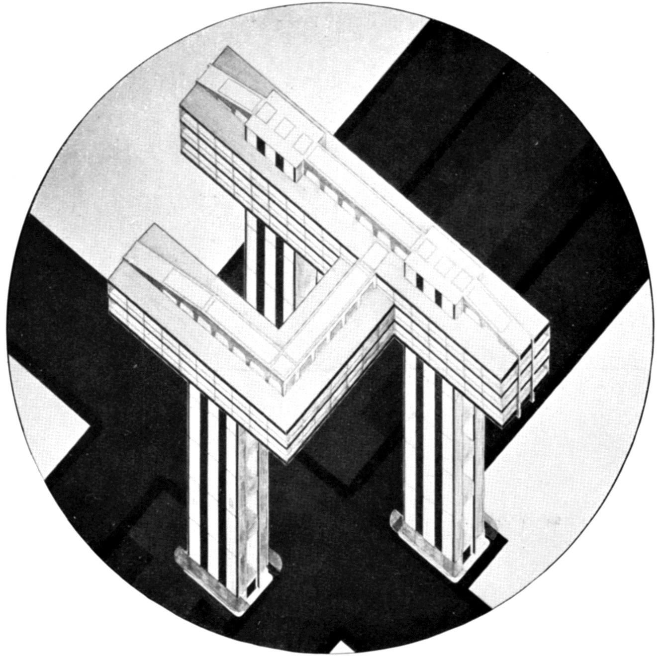 El Lissitzky, 1924, o Wolkenbügel, vista aérea