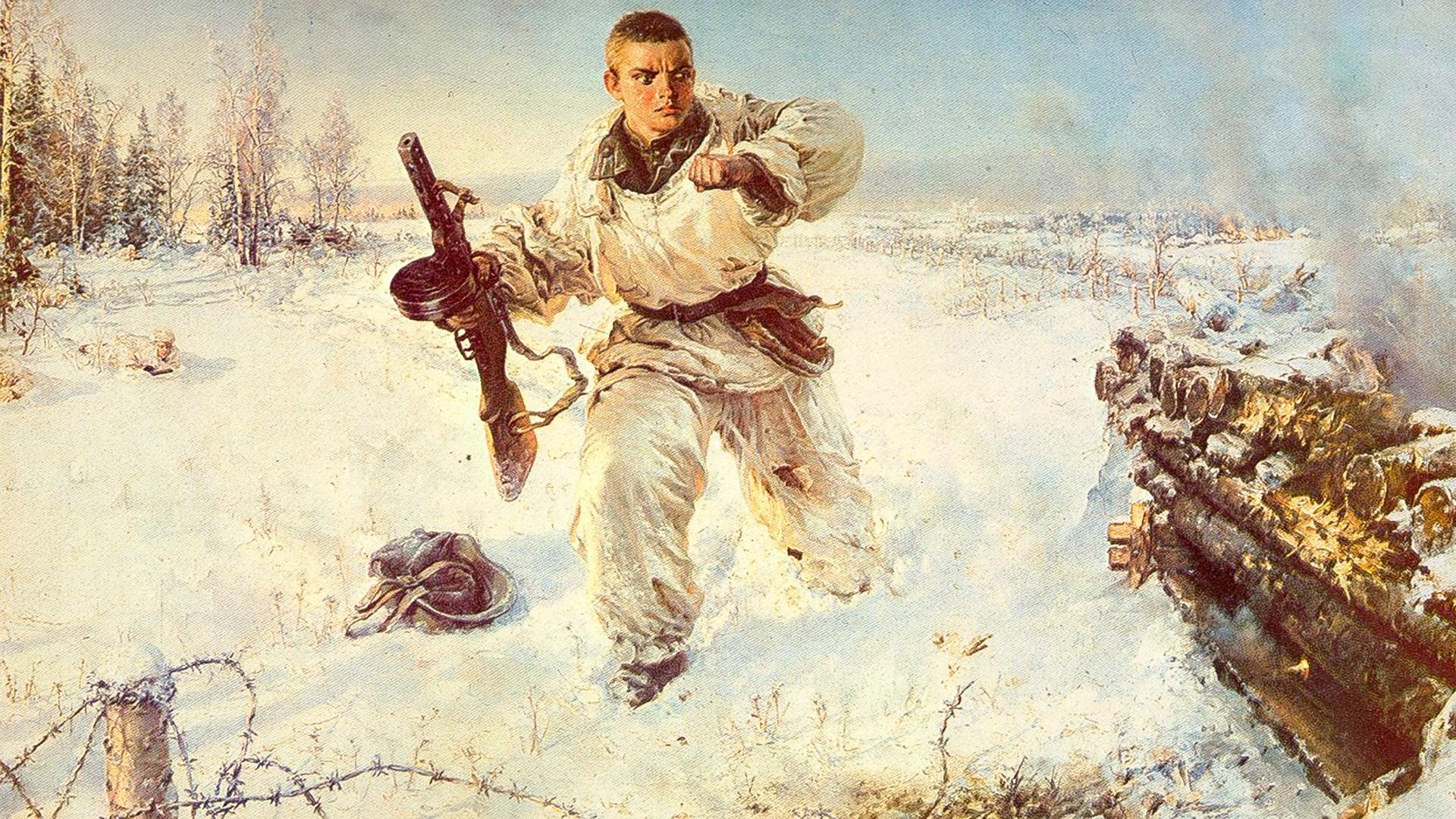 """""""Подвиг Александра Матросова"""", В.Е. Панфилов, 1953."""