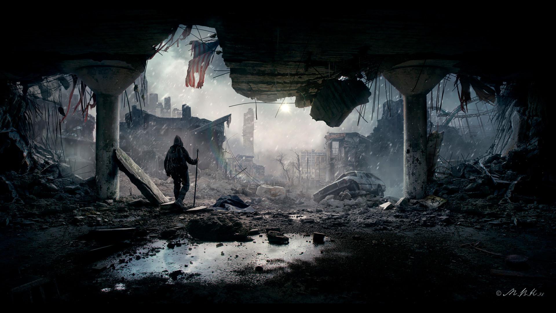 Seni pasca-apokaliptik oleh Vladimir Manyukhin.