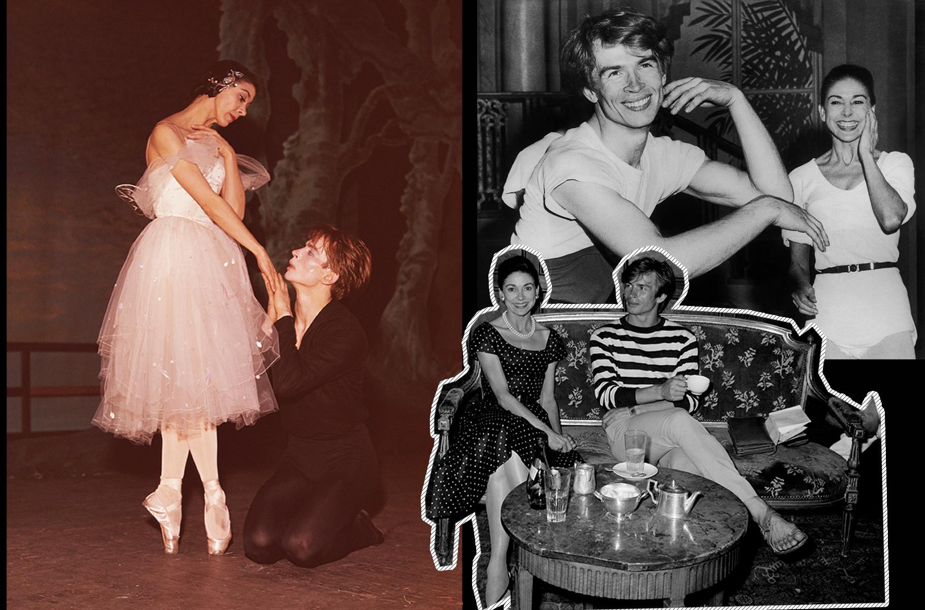A bailarina inglesa Margot Fonteyn (1919 - 1991) e Nureyev (1938 - 1993) ensaiam 'Giselle' em 1962.