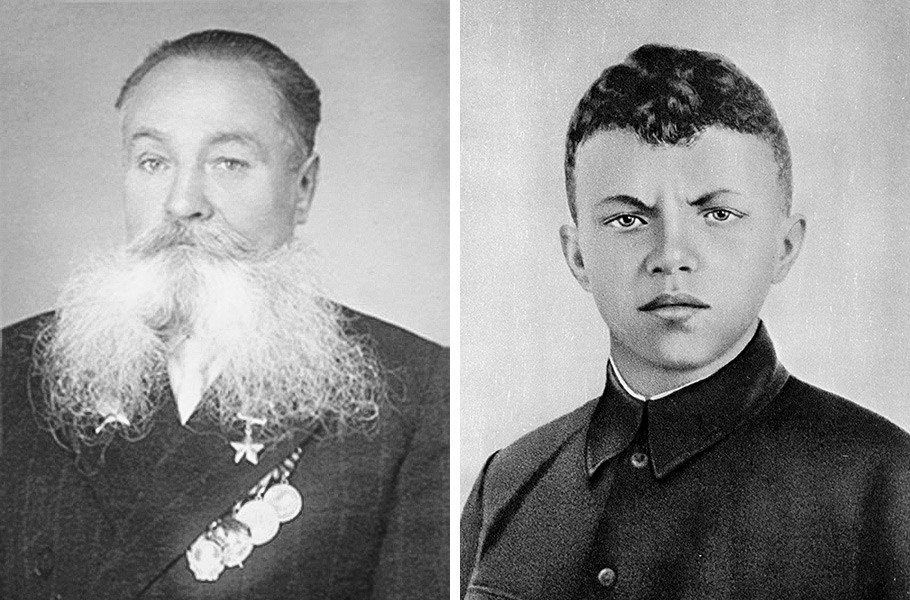 Held der Sowjetunion Alexej Iwanowitsch Otstawnow (links) und Held der Sowjetunion Alexander Matwejewitsch Matrossow (rechts)