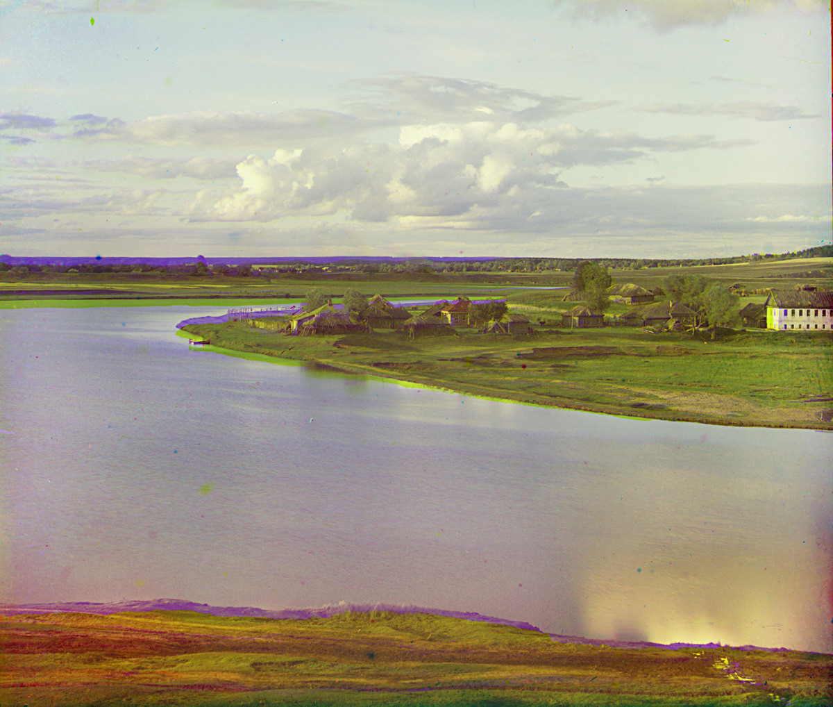 View northwest from Luzhetsky Monastery toward meadows over Moscow River. Summer 1911.