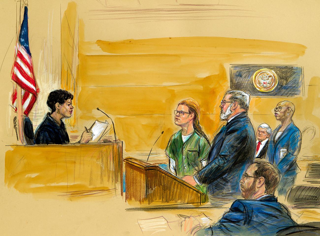 На скицата од судењето прикажана е Марија Бутина со својот адвокат Роберт Дрискол пред окружниот суд во четвртокот на 13 декември 2018 година.
