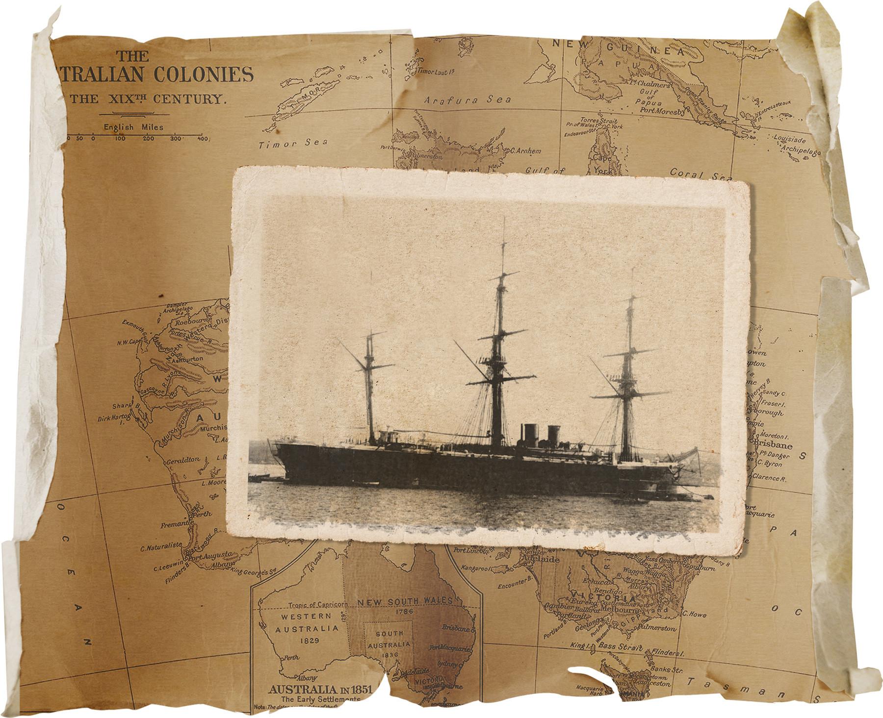 ロシアのコルベット艦、リンダ号。1888年、シドニー。