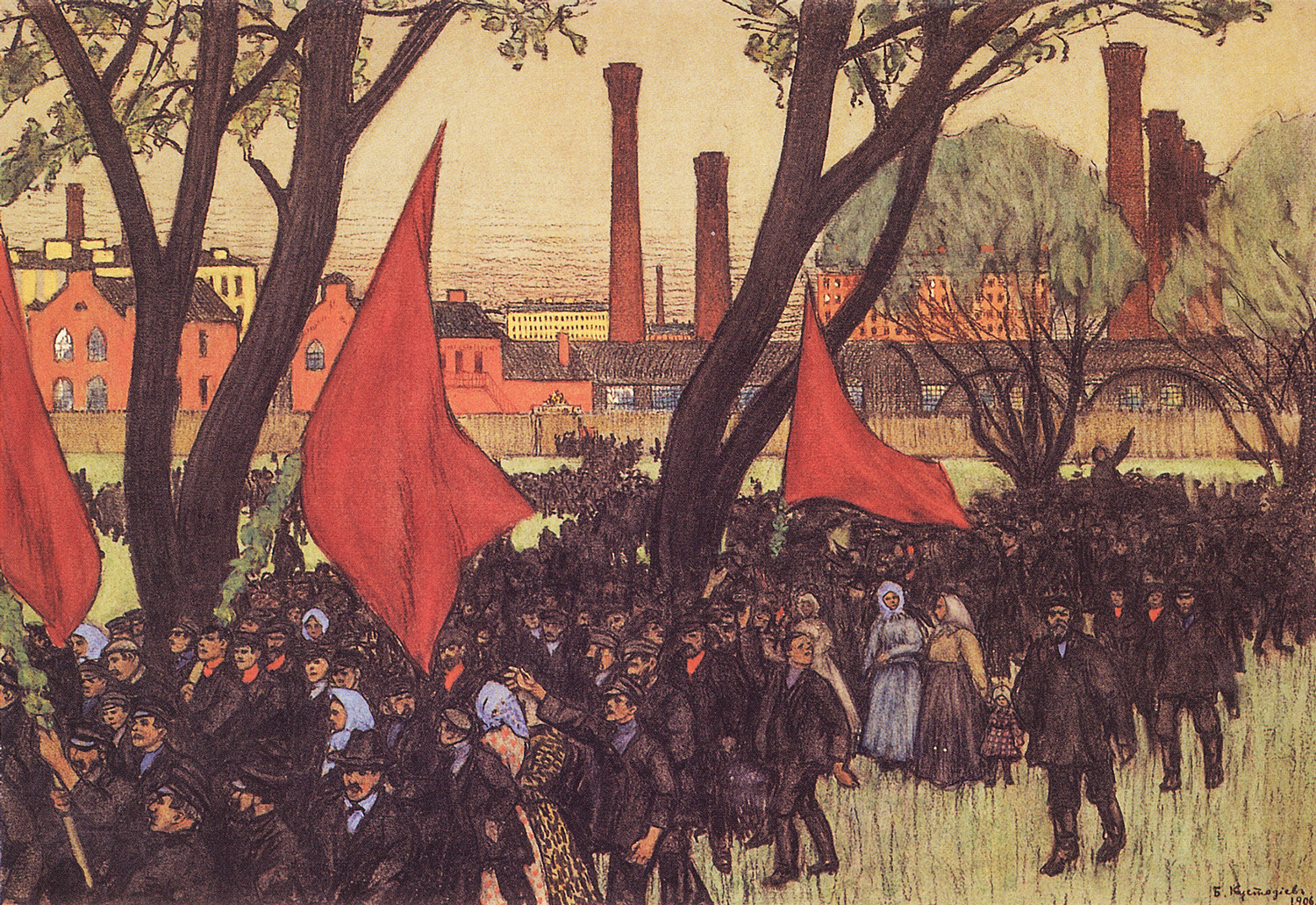The May 1st demonstration of 1906, portrayed by a Russian artist Boris Kustodiev.
