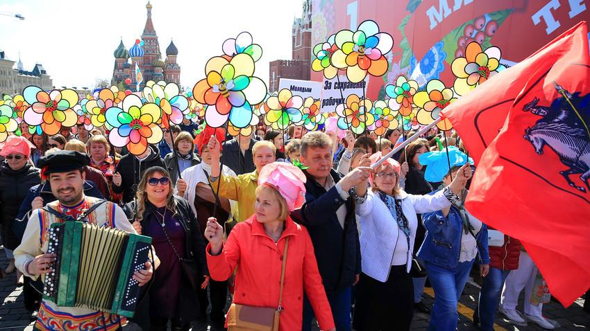 Pawai Hari Buruh di Moskow.