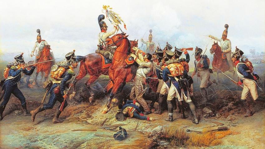 Подвиг конного полка в сражении при Аустерлице в 1805 году. 1884