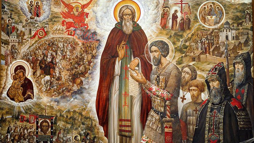 """""""Свети Сергий Радонежски и Свети Димитрий Донски"""". През ХХ век иконата е нарисуван от свещеника Сергей Симаков."""