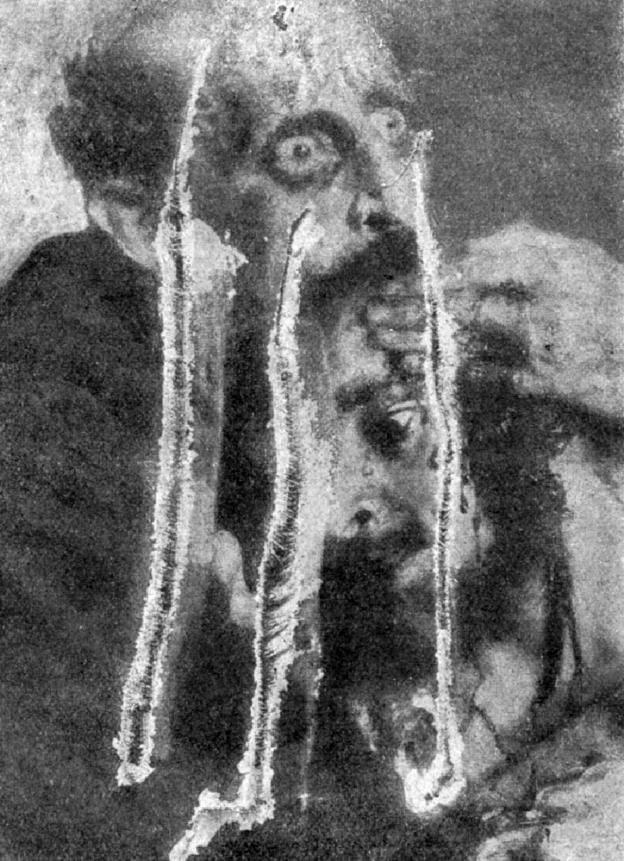 Uma parte da pintura danificada por Abram Balachov.