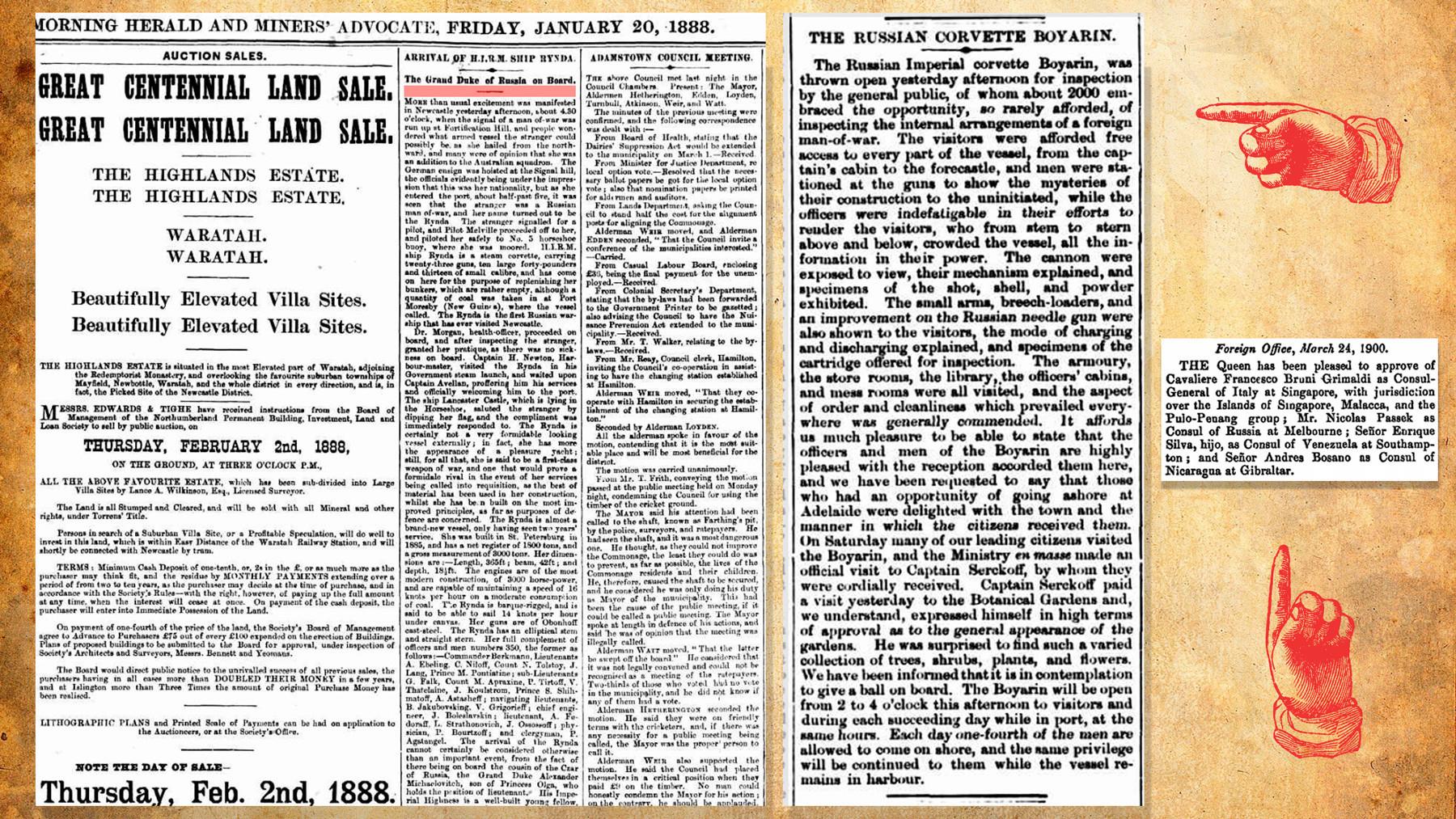 Jornais australianos da época sobre as visitas dos navios russos ao país.