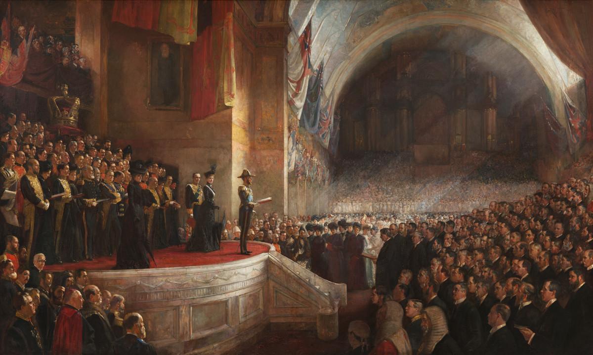 """""""Abertura do Parlamento da Austrália, em 9 de maio de 1901, em Melbourne, na Austrália"""". Pintura de Tom Roberts (1856-1931). Nikolai Pássek, o cônsul imperial russo em Melbourne, é retratado na parte inferior esquerda da imagem."""