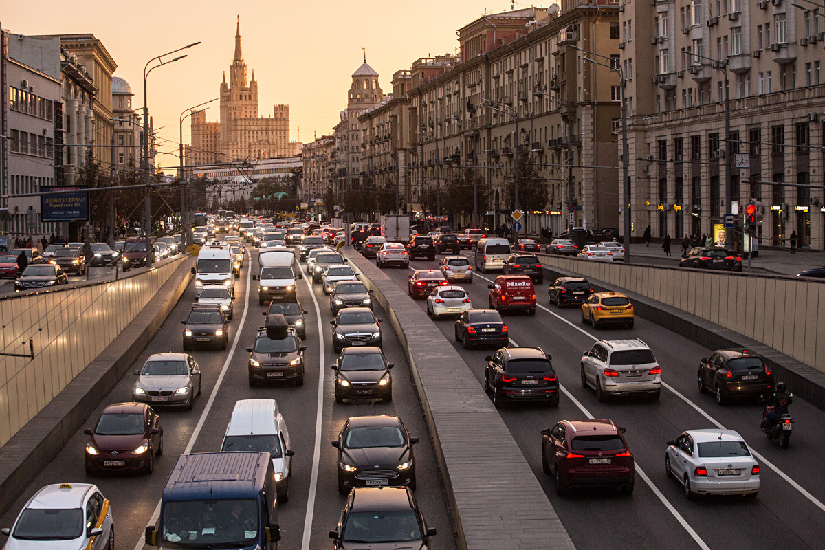 Heavy traffic in Bolshaya Sadovaya Street.