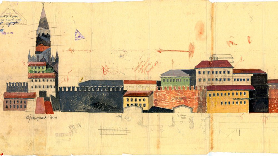Б. Иофан. Проектът за маскиране на Троицката кула, здания и стени на Кремъл от страната на Александровската градина