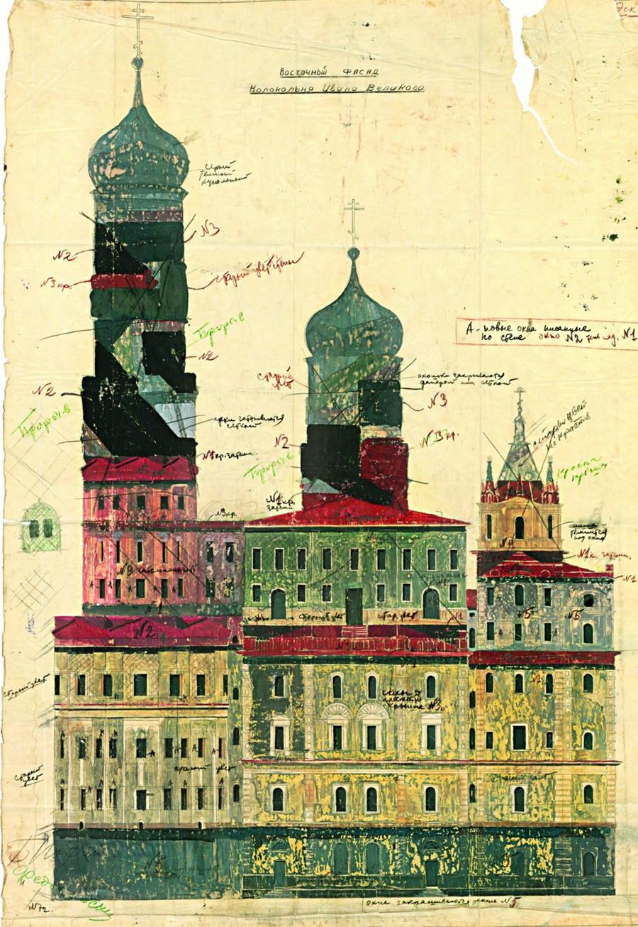 """Б. Јофан. Проектот за камуфлажа на источната фасада на камбанаријата """"Иван Велики""""."""