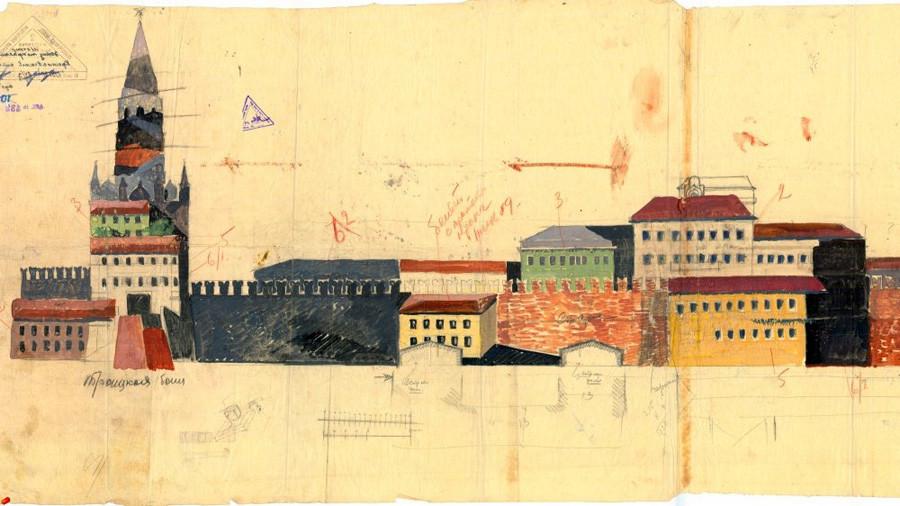 Б. Јофан. Проектот за камуфлажа на Троицката кула, објектите и ѕидините на Кремљ од страната на Александровскиот парк.