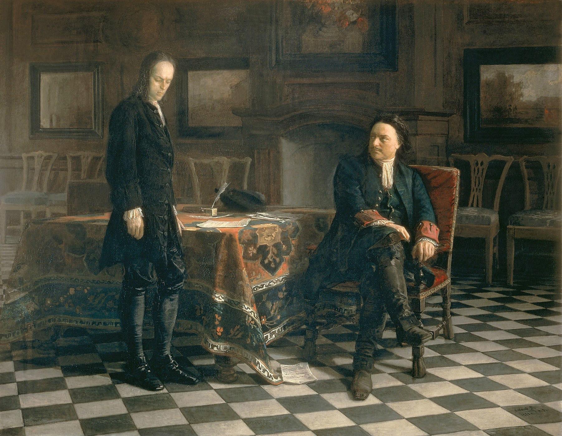 """Pedro, o Grande, interroga seu filho Aleksêi"". Pintura de 1871 de Nikolai Gue."