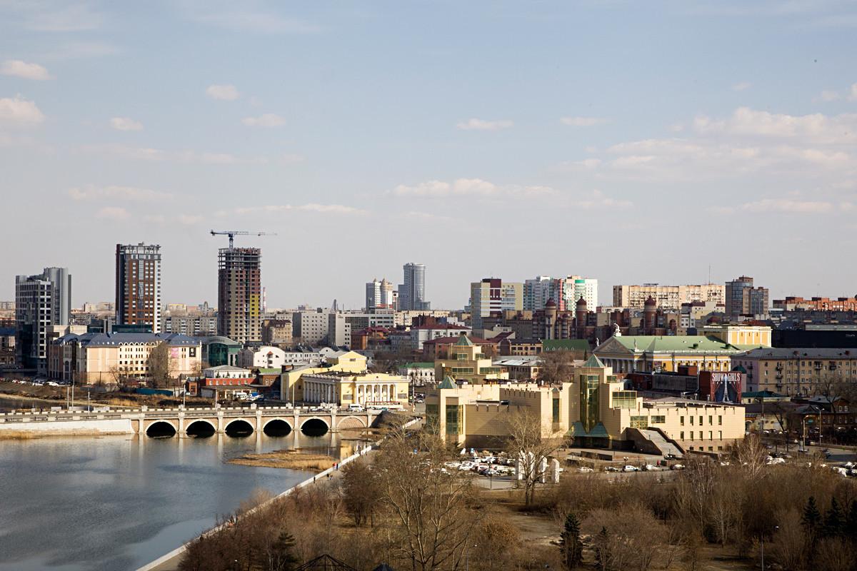 Pemandangan Chelyabinsk dari ketinggian.