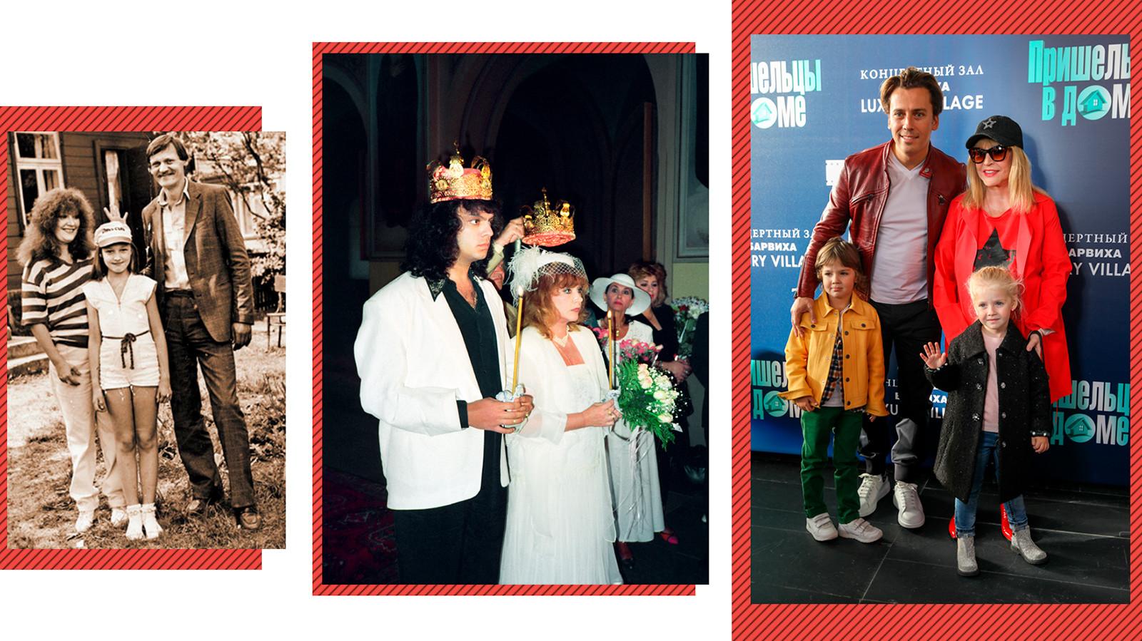 Alla, su primer marido Mijaíl y su hija Kristina (a la izq.); Alla y su marido Filipp en 1994; Alla y Maxim con sus hijos en 2018.