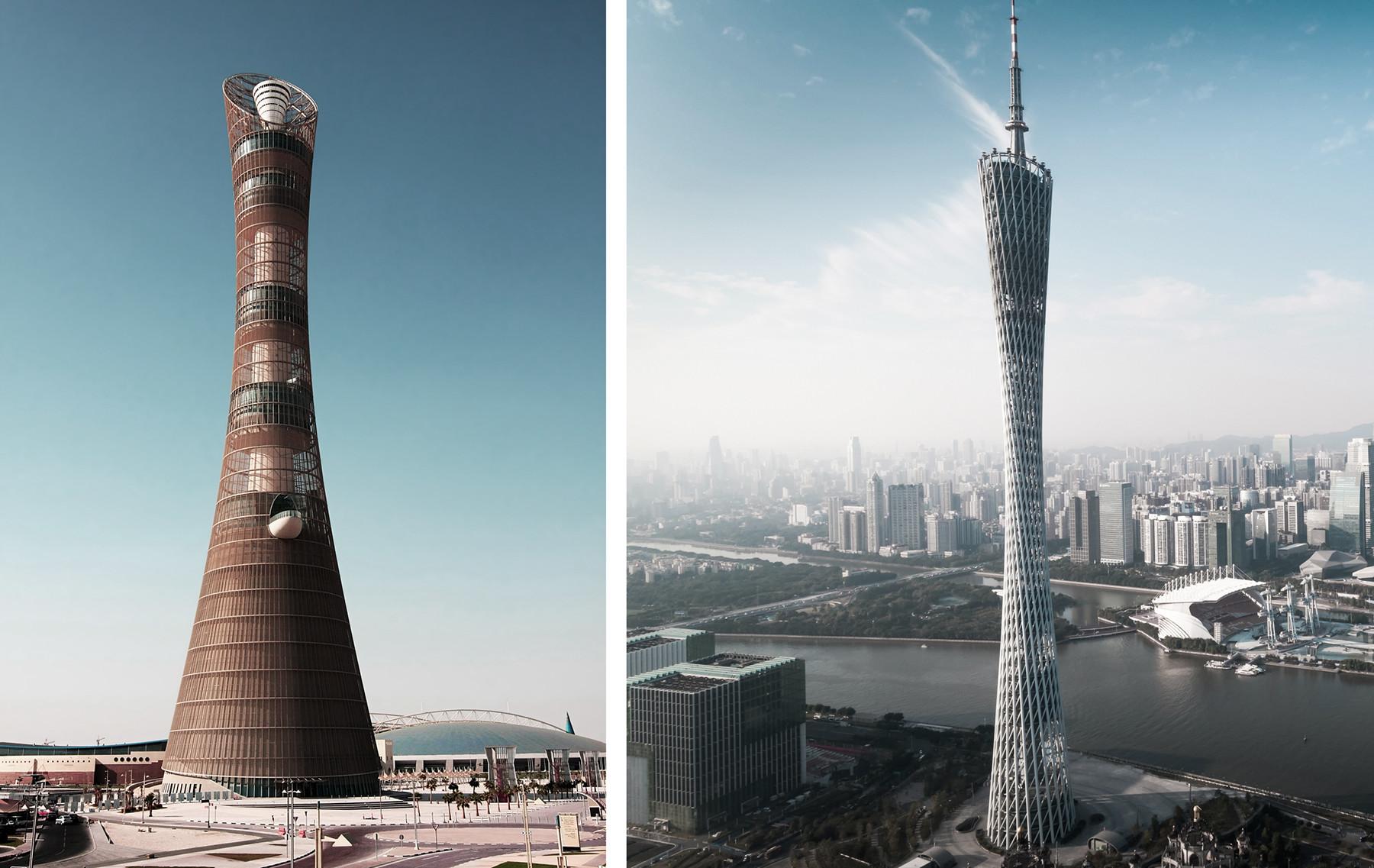 左から右:ドーハ、アスパイヤ タワー;広州塔。