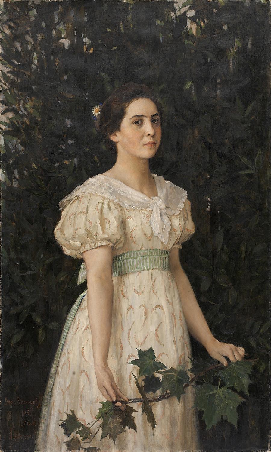 """Garota com um ramo de bordo"" (1886), retrato de Vera Mámontova pintado por Víktor Vasnetsov."