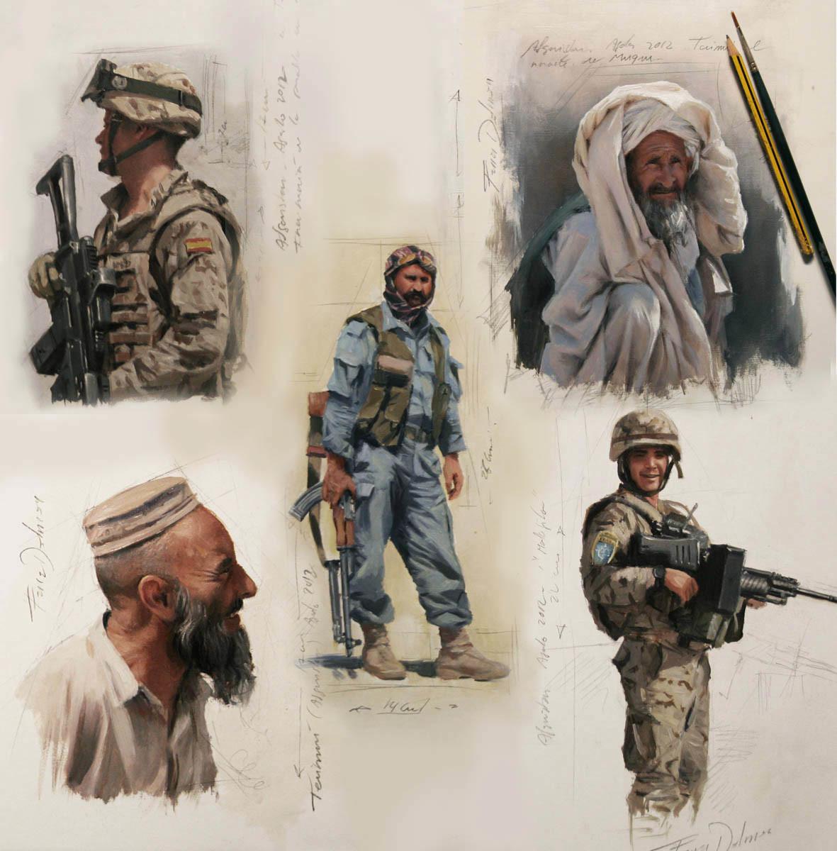Bocetos elaborados en Afganistán en agosto de 2012.