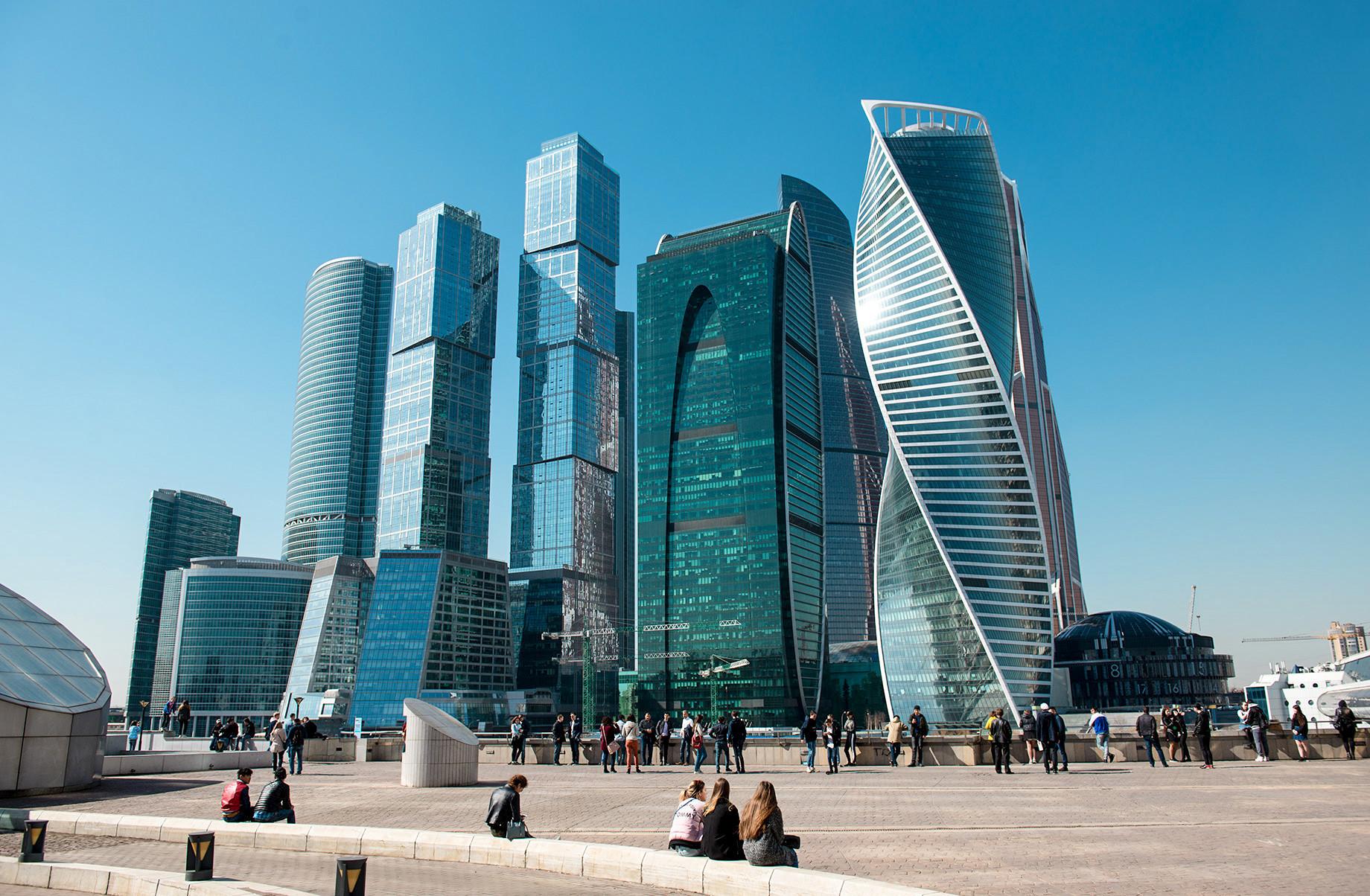 Centro empresarial Moscow City, em Moscou.