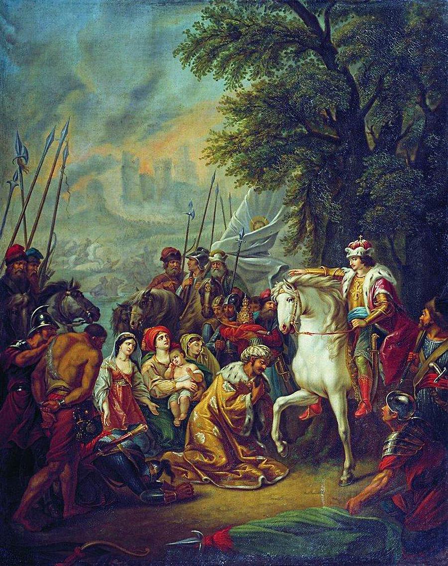 A captura de Kazan por Ivan, O Terrível em 2 de outubro de 1552. Pintura de Grigóri Ugriumov.
