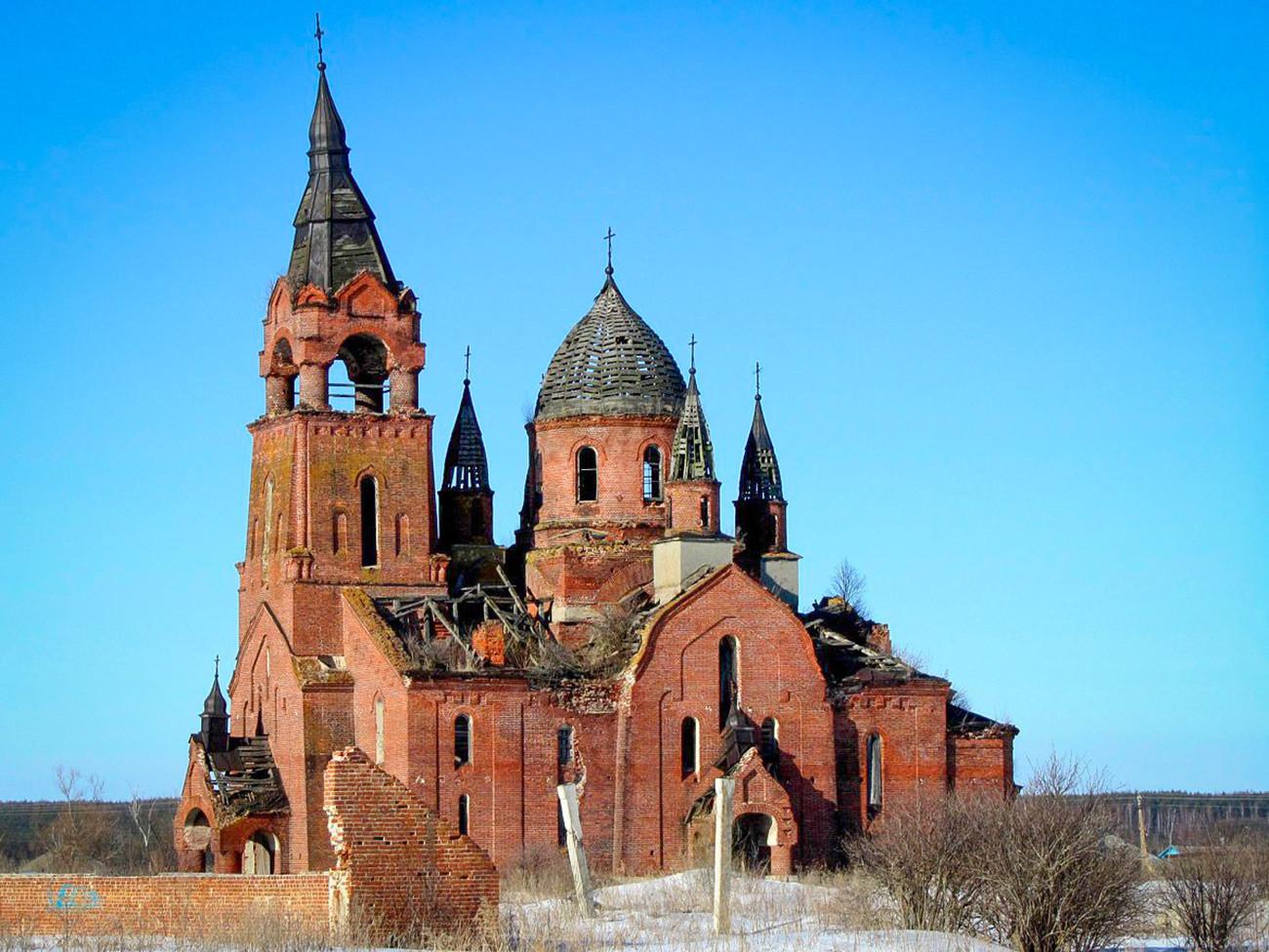 Liebfrauenkirche im Dorf Pjot, Anfang des 20. Jahrhunderts, Region Rjasan