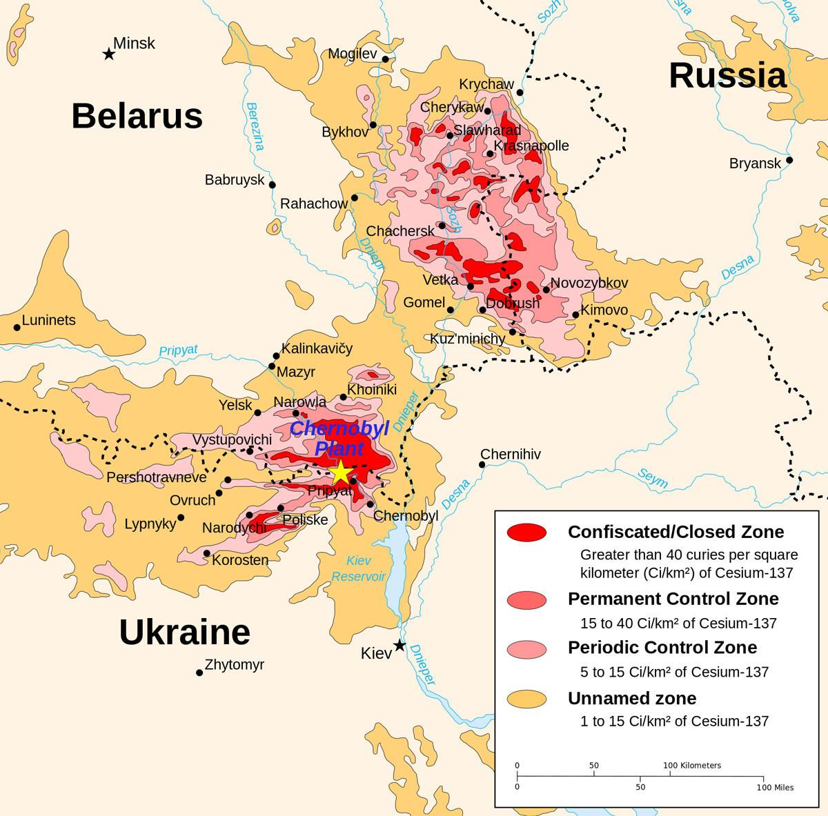 Zemljevid kontaminiranega območja (rdeče = popolnoma zaprta območja)