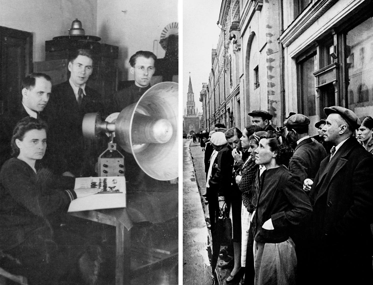 Слева: рупорные громкоговорители; справа: объявление о начале Великой Отечественной войны, Улица 25-го Октября (Сейчас Никольская)