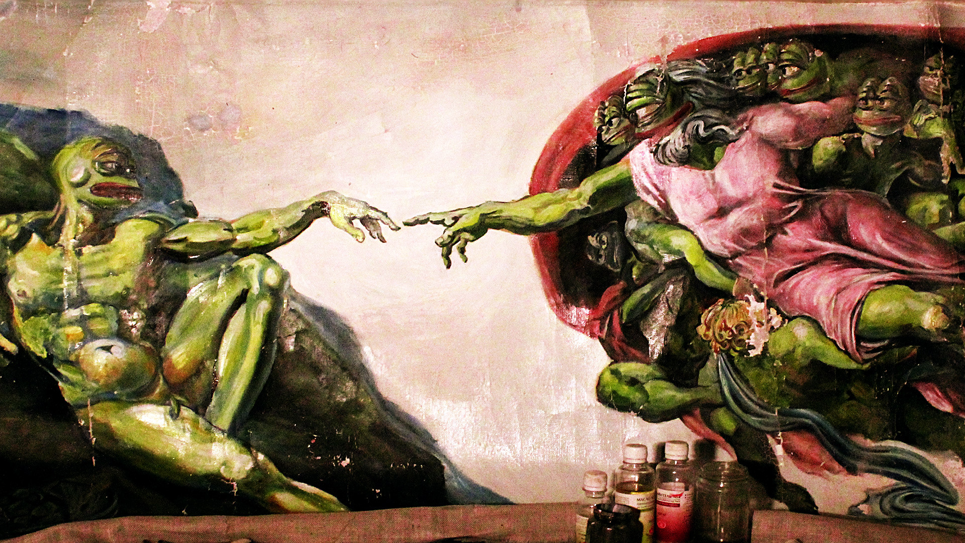 The Creation of Pepe by Olga Vishnevsky (based on Michelangelo's The Creation of Adam).