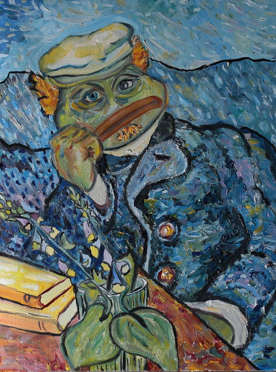Portrait of Pepe as Dr. Gachet (based on Portrait of Dr. Gachet by Vincent Van Gogh).