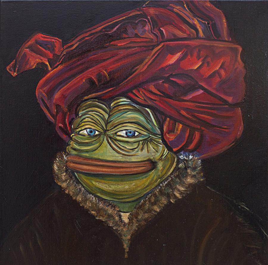 Portrait of Pepe wearing a red turban (based on a portrait by Jan van Eyck).