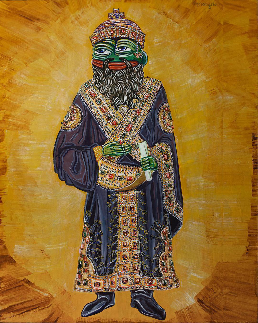 Pepe The Byzantine Emperor, tempera on iconic wood.