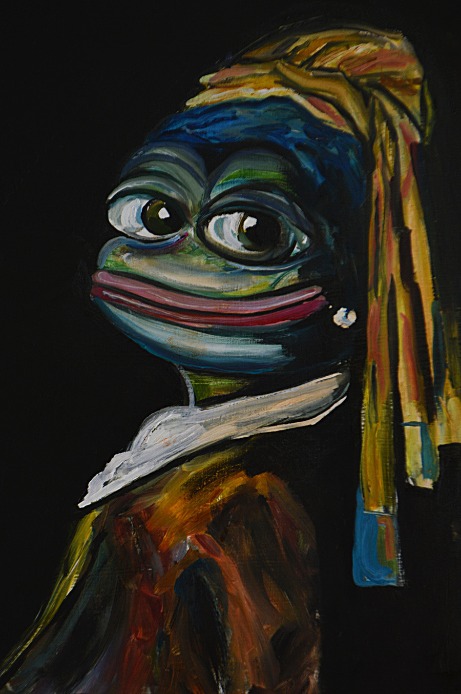 Pepe with a Pearl Earring (based on Girl with a Pearl Earring by Jan Vermeer).