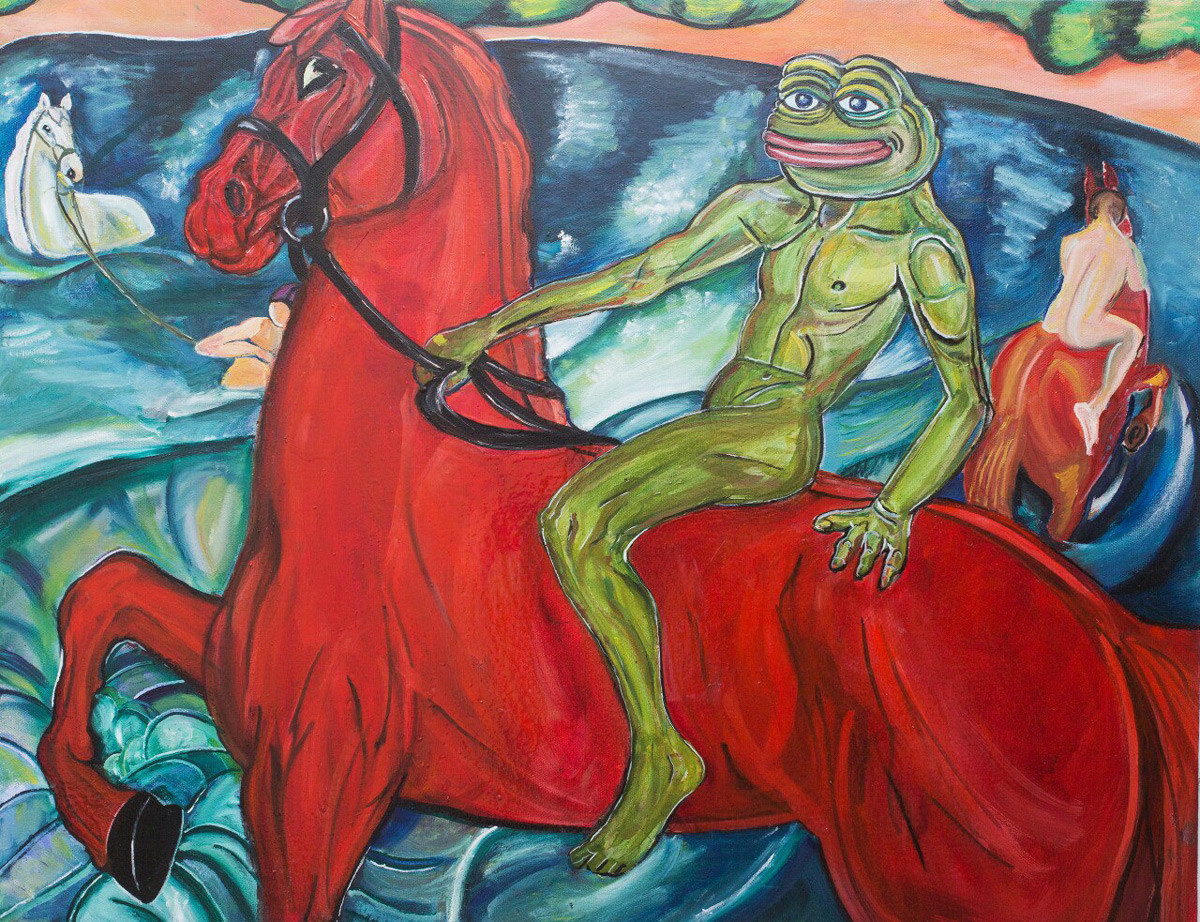 Pepe the Frog Bathing of the Red Horse (mocking Bathing of the Red Horse by  Kuzma Petrov-Vodkin).