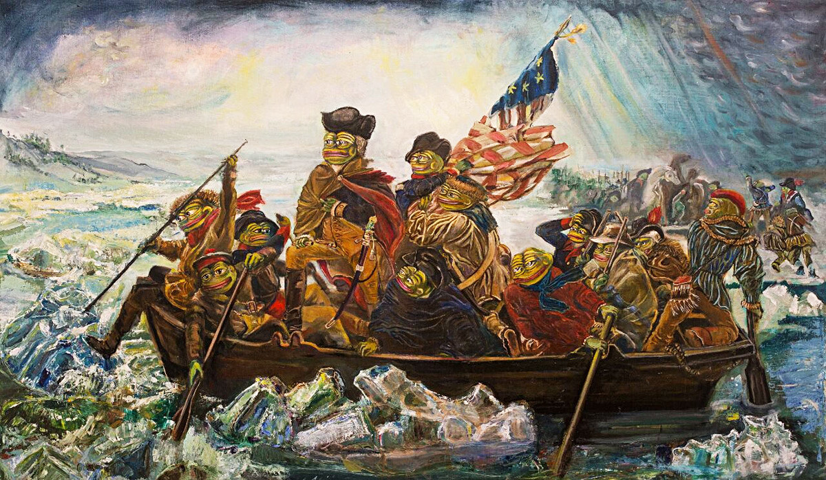 Pepe crossing the Delawere (based on Washington crossing the Delawere by Emanuel Leutze).