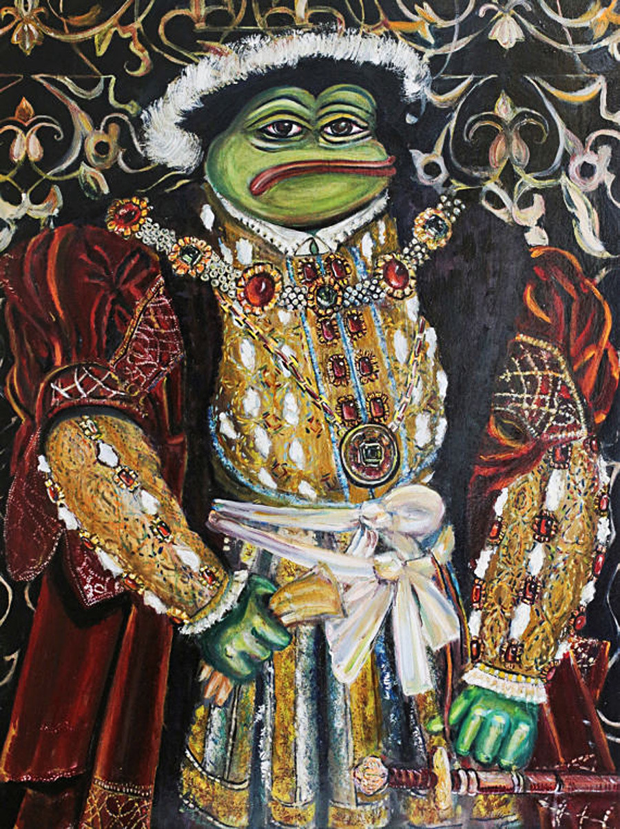 Pepe Henry VIII (based on the portrait of Henry VIII by Hans Holbein).