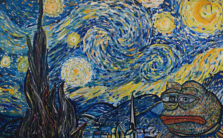 Pepe the Frog Starry Night (based on Starry Night by Vincent Van Gogh).