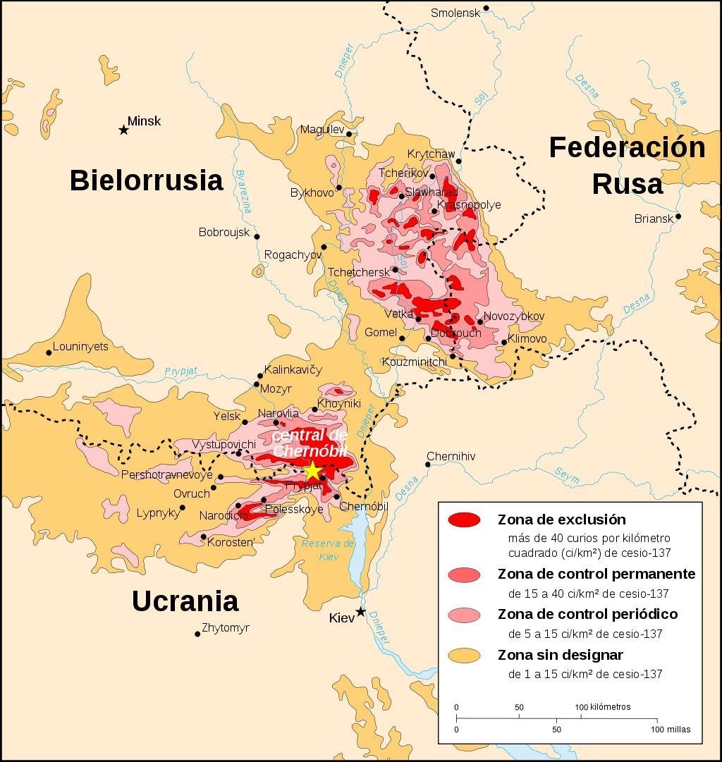 Mapa que muestra la contaminación por cesio-137 en Bielorrusia, Rusia y Ucrania.