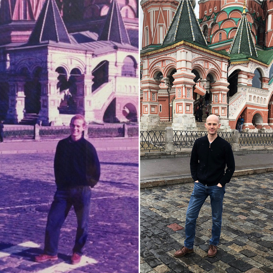 Andrew Byron on Red Square. L - early 1990s, R - 2019