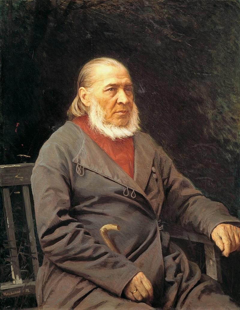 セルゲイ・アクサコフの肖像画。画家:イワン・クラムスコイ、1878