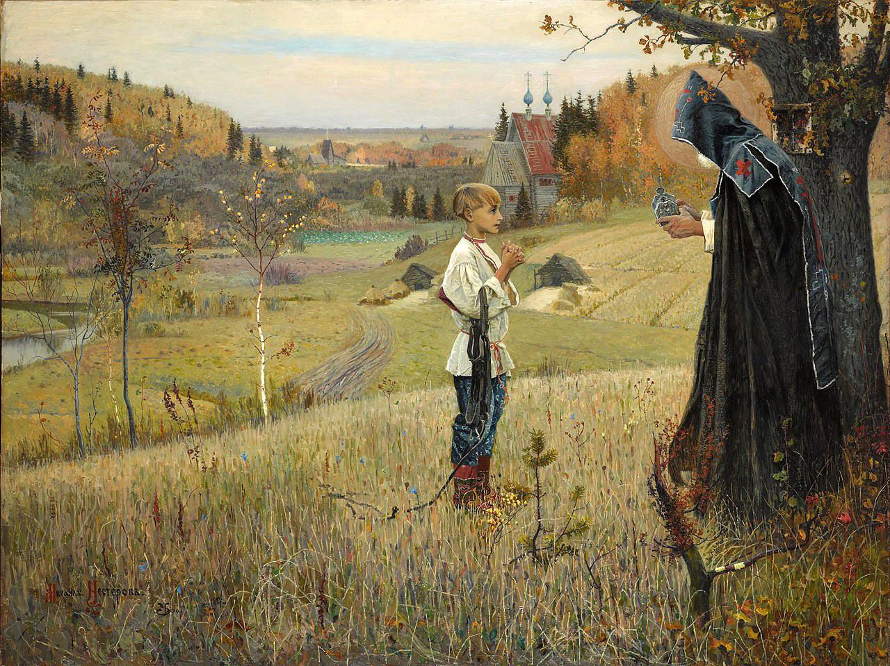 ミハイル・ネステロフ作『若きヴァルフォロメイの聖なる光景』、1889—1890